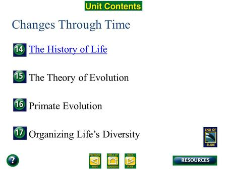 Unit Overview – pages 366-367 Changes Through Time The History of Life The Theory of Evolution Primate Evolution Organizing Life's Diversity.
