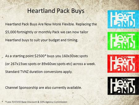 Heartland Pack Buys Heartland Pack Buys Are Now More Flexible. Replacing the $5,000 fortnightly or monthly Pack we can now tailor Heartland buys to suit.