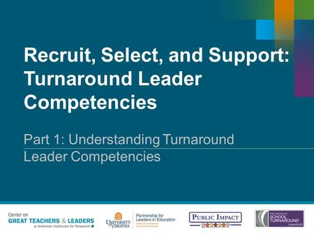 Recruit, Select, and Support: Turnaround Leader Competencies Copyright © 20XX American Institutes for Research. All rights reserved. Part 1: Understanding.