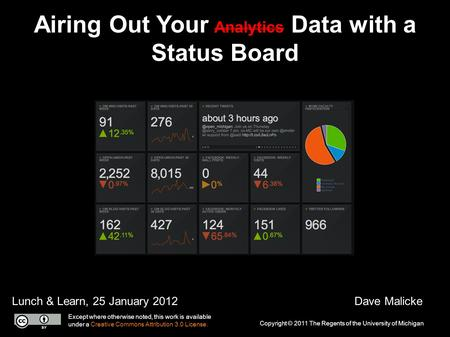 Airing Out Your Analytics Data with a Status Board Lunch & Learn, 25 January 2012Dave Malicke Copyright © 2011 The Regents of the University of Michigan.