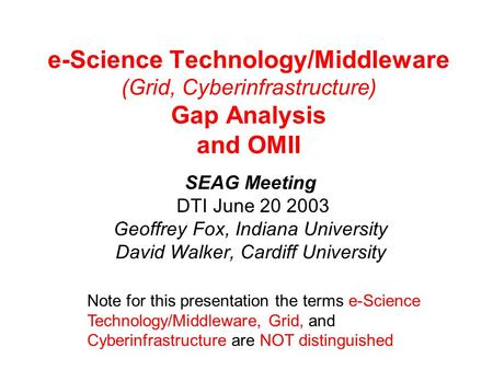 E-Science Technology/Middleware (Grid, Cyberinfrastructure) Gap Analysis and OMII SEAG Meeting DTI June 20 2003 Geoffrey Fox, Indiana University David.