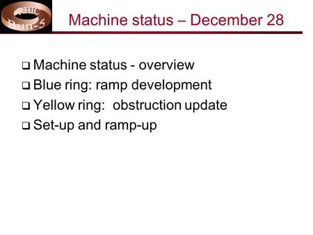 Machine status – December 28  Machine status - overview  Blue ring: ramp development  Yellow ring: obstruction update  Set-up and ramp-up.