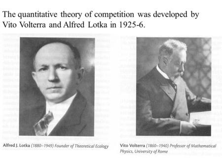 The quantitative theory of competition was developed by Vito Volterra and Alfred Lotka in 1925-6.