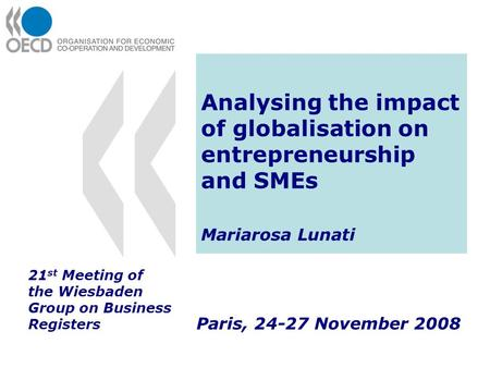 Analysing the impact of globalisation on entrepreneurship and SMEs Mariarosa Lunati Paris, 24-27 November 2008 21 st Meeting of the Wiesbaden Group on.