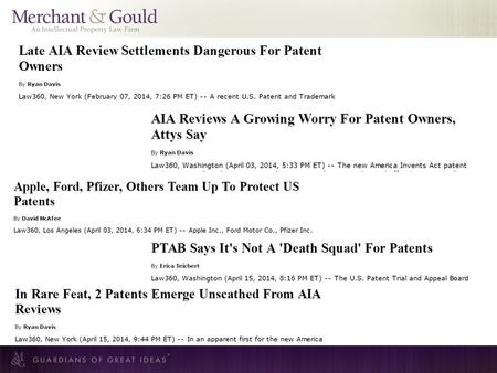 The New Tool for Patent Defendants - Inter Partes Review Daniel W. McDonald George C. Lewis, P.E. Merchant & Gould, P.C. April 16, 2014 © 2014 Merchant.