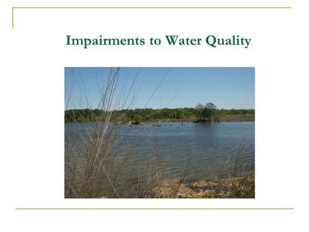 Impairments to Water Quality. Module Topics What is Water Quality? What are Pollutants? Types of Water  Stormwater  Wastewater  Process water.