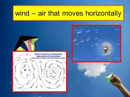 Wind – air that moves horizontally. convection cell – a pattern of rising and falling air, sinking air, and winds caused by unequal heating and cooling.