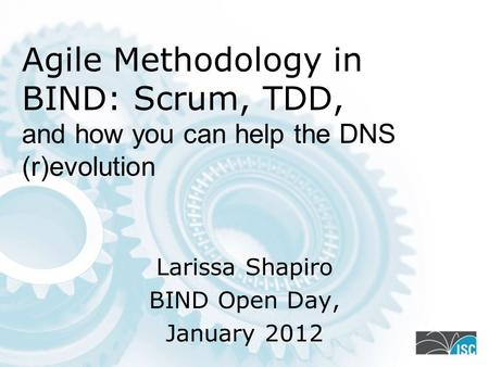 Agile Methodology in BIND: Scrum, TDD, and how you can help the DNS (r)evolution Larissa Shapiro BIND Open Day, January 2012.