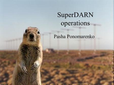 SuperDARN operations Pasha Ponomarenko.