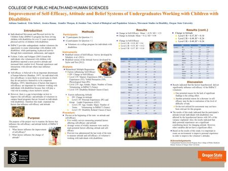 V v COLLEGE OF PUBLIC HEALTH AND HUMAN SCIENCES Improvement of Self-Efficacy, Attitude and Belief Systems of Undergraduates Working with Children with.