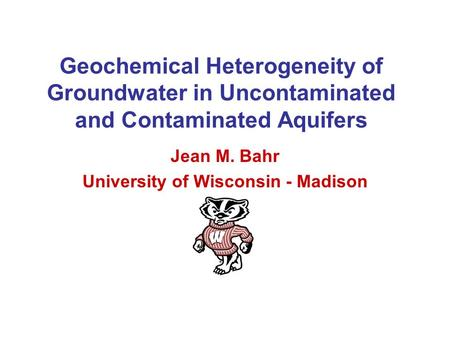 Geochemical Heterogeneity of Groundwater in Uncontaminated and Contaminated Aquifers Jean M. Bahr University of Wisconsin - Madison.
