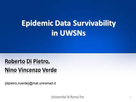 1 Epidemic Data Survivability in UWSNs