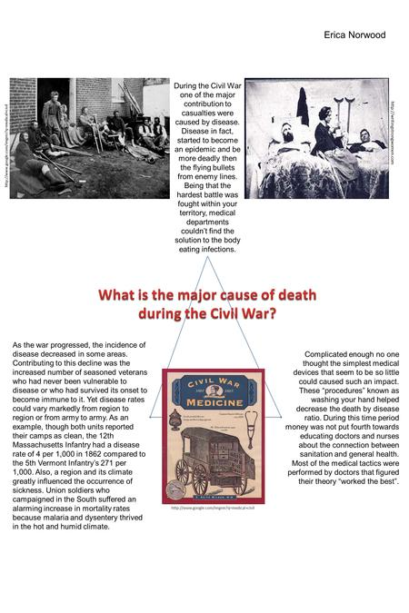 During the Civil War one of the major contribution to casualties were caused by disease. Disease in fact,