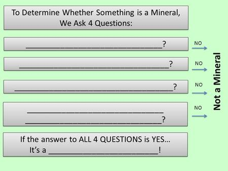 To Determine Whether Something is a Mineral, We Ask 4 Questions: To Determine Whether Something is a Mineral, We Ask 4 Questions: _______________________________?