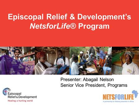 Episcopal Relief & Development's NetsforLife® Program Presenter: Abagail Nelson Senior Vice President, Programs.