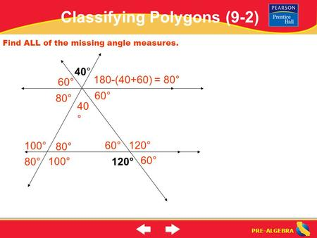 PRE-ALGEBRA Find ALL of the missing angle measures. 40° 120° 60° 40 ° 60° 180-(40+60) = 80° 80° 100° Classifying Polygons (9-2)
