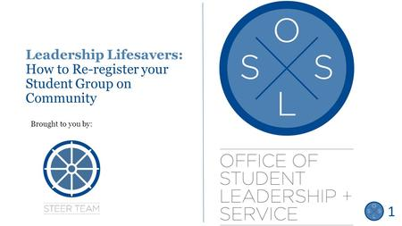 Leadership Lifesavers: How to Re-register your Student Group on Community Brought to you by: Title Slide 1.