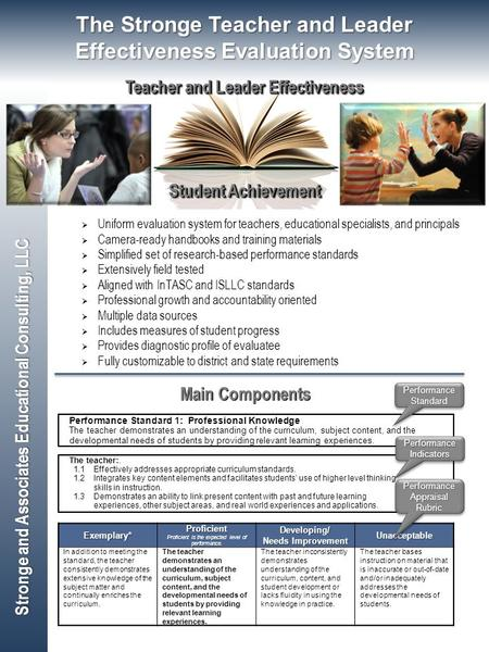 Student Achievement Teacher and Leader Effectiveness Stronge and Associates Educational Consulting, LLC  Uniform evaluation system for teachers, educational.