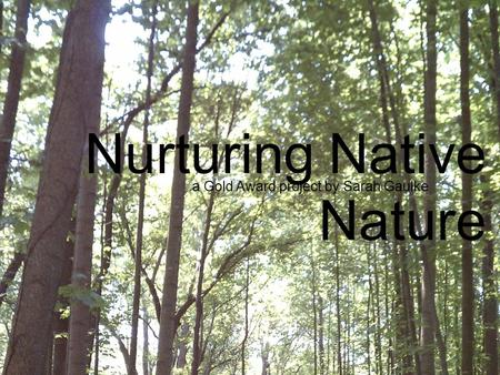Nurturing Native Nature a Gold Award project by Sarah Gaulke.