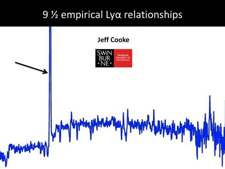 9 ½ empirical Lyα relationships Jeff Cooke. 1. UV continuum reddening, β parameter 2. ISM absorption line width/strength 3. Outflows and HI column density/covering.
