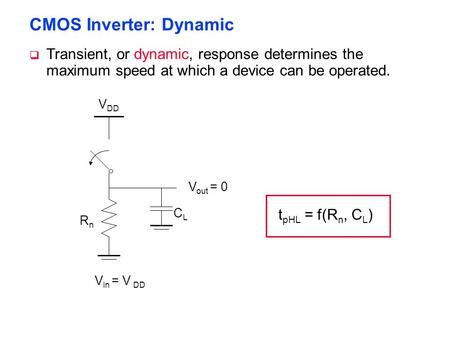 CMOS Inverter: Dynamic V DD RnRn V out = 0 V in = V DD CLCL t pHL = f(R n, C L )  Transient, or dynamic, response determines the maximum speed at which.