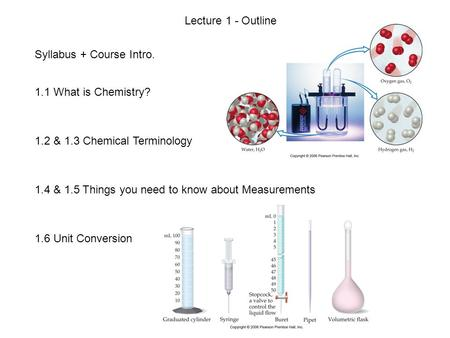 Syllabus + Course Intro. 1.1 What is Chemistry? 1.2 & 1.3 Chemical Terminology 1.4 & 1.5 Things you need to know about Measurements 1.6 Unit Conversion.