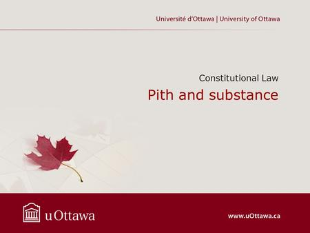 Pith and substance Constitutional Law. © Copyright 2013 Tolga R Yalkin.