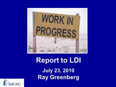 Report to LDI July 23, 2010 Ray Greenberg. Agenda 1.Update on Strategic Plan 2.Leadership Transitions 3.Questions 1.