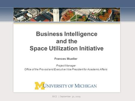 Business Intelligence and the Space Utilization Initiative Frances Mueller Project Manager Office of the Provost and Executive Vice President for Academic.