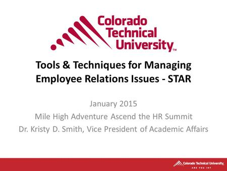 Tools & Techniques for Managing Employee Relations Issues - STAR