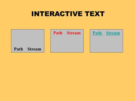 INTERACTIVE TEXT Path Stream Path Path StreamStream.