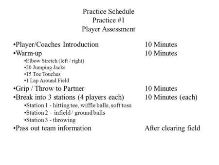 Practice Schedule Practice #1 Player Assessment Player/Coaches Introduction10 Minutes Warm-up10 Minutes Elbow Stretch (left / right) 20 Jumping Jacks 15.