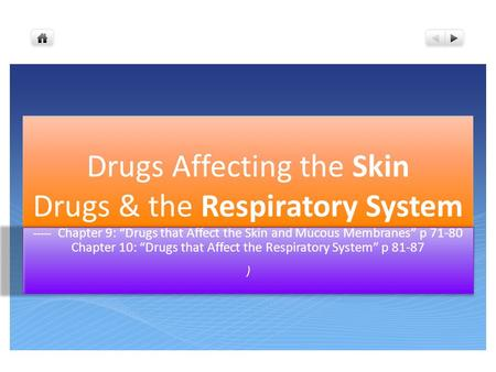 "----- Chapter 9: ""Drugs that Affect the Skin and Mucous Membranes"" p 71-80 Chapter 10: ""Drugs that Affect the Respiratory System"" p 81-87 )"