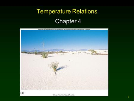 1 Temperature Relations Chapter 4. 2 Outline Microclimates Aquatic Temperatures Temperature and Animal Performance Extreme Temperature and Photosynthesis.