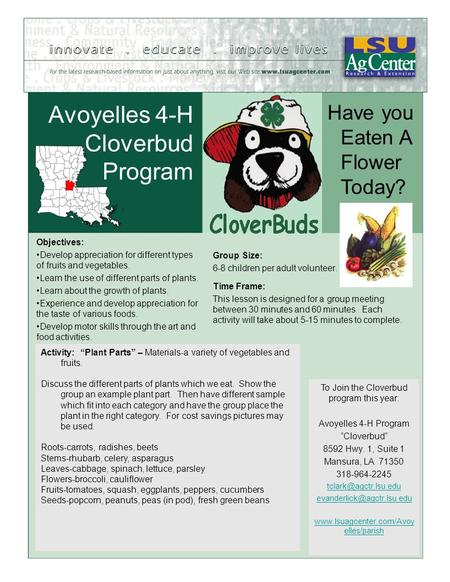 Avoyelles 4-H Cloverbud Program Objectives: Develop appreciation for different types of fruits and vegetables. Learn the use of different parts of plants.