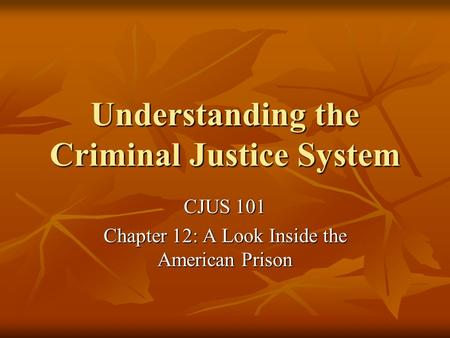 Understanding the Criminal Justice System CJUS 101 Chapter 12: A Look Inside the American Prison.