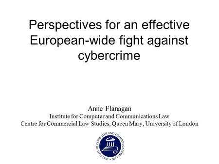 Perspectives for an effective European-wide fight against cybercrime Anne Flanagan Institute for Computer and Communications Law Centre for Commercial.