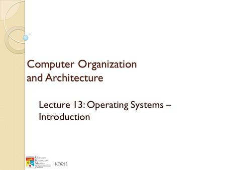 COMPUTER ORGANIZATION AND SYSTEMS CARPINELLI ARCHITECTURE