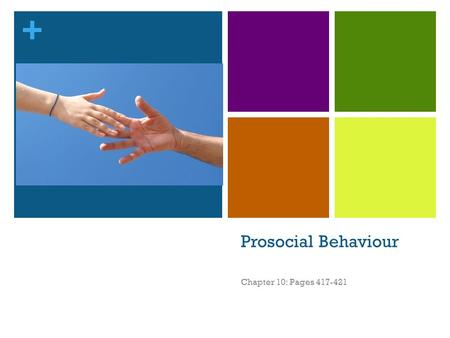+ Prosocial Behaviour Chapter 10: Pages 417-421. + Social Behaviour Refers to any behaviour where interaction occurs between two or more people. This.