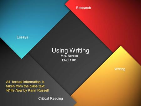 Using Writing Mrs. Nereim ENC 1101 Essays Critical Reading Writing Research All textual information is taken from the class text: Write Now by Karin Russell.
