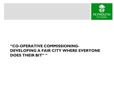 """CO-OPERATIVE COMMISSIONING- DEVELOPING A FAIR CITY WHERE EVERYONE DOES THEIR BIT"" """