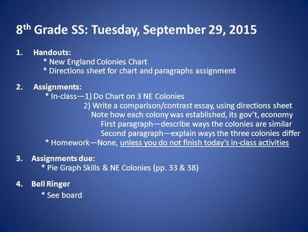 8 th Grade SS: Tuesday, September 29, 2015 1.Handouts: * New England Colonies Chart * Directions sheet for chart and paragraphs assignment 2.Assignments: