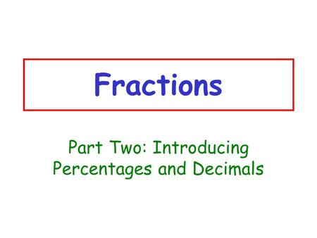 Part Two: Introducing Percentages and Decimals