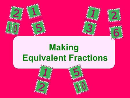 Making Equivalent Fractions. Name the same amount but have different numerators and denominators. 1 2 = 2 4 1 2 1 4 1 4.