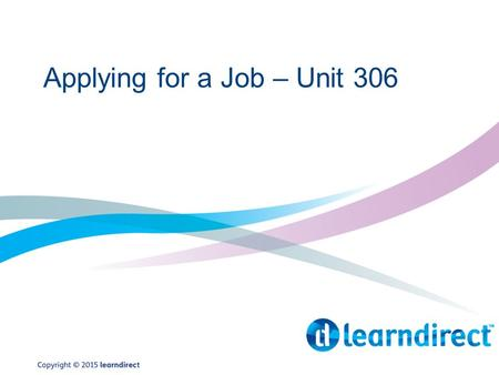 Applying for a Job – Unit 306
