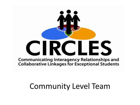 "Community Level Team Community Level Teams. ""No one can do it alone. Improving the quality of life and the education of children with disabilities and."