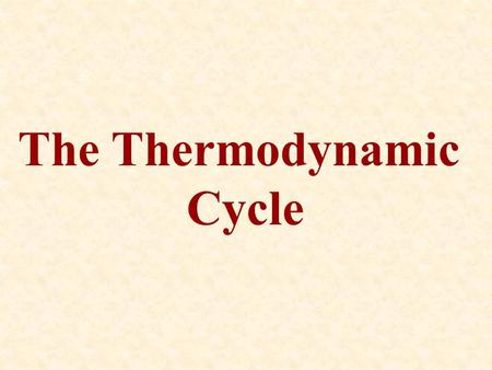 The Thermodynamic Cycle. Heat engines and refrigerators operate on thermodynamic cycles where a gas is carried from an initial state through a number.