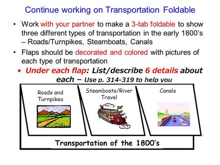 Continue working on Transportation Foldable Work with your partner to make a 3-tab foldable to show three different types of transportation in the early.