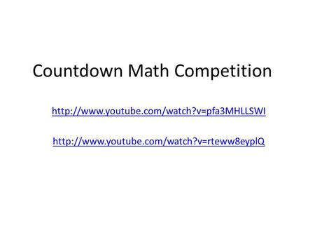 Countdown Math Competition