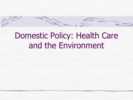 Domestic Policy: Health Care and the Environment.